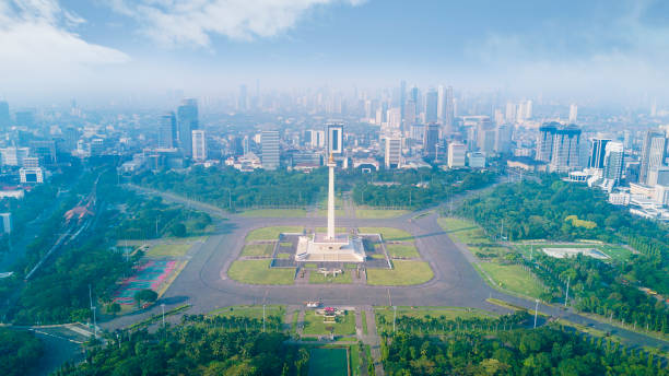 Beautiful aerial view of National Monument under blue sky at Jakarta, Indonesia