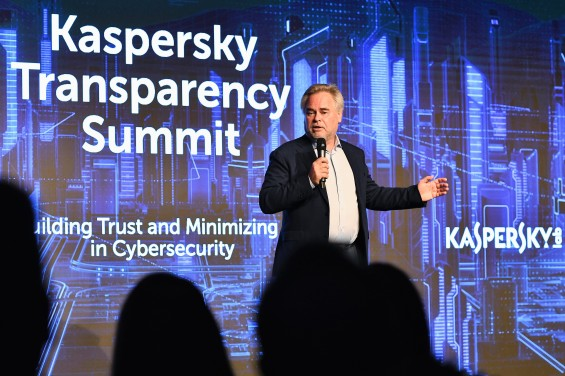 ZURICH, SWITZERLAND - NOVEMBER 13: Eugene Kaspersky, CEO at Kaspersky Lab, speaks at the Kaspersky Transparency Summit, where experts and leaders of the global ICT industry gathered to debated how to ensure trust in, and assurance for their products in the current cybersecurity landscape. November 13th, Zurich, Switzerland. For info: .https://www.kaspersky.com/transparency (Photo by Adrian Bretscher/Getty Images for Kaspersky Lab) *** Local Caption *** Eugene Kaspersky
